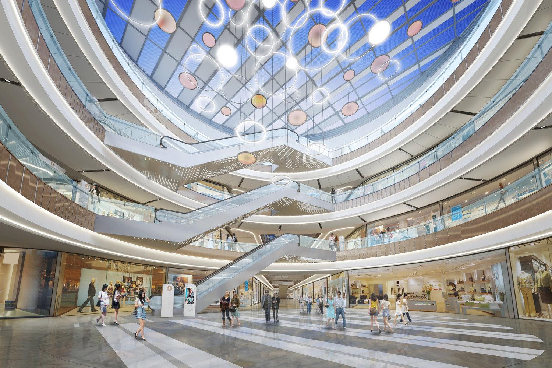 dg天霸设计:购物中心中庭设计讲究通透性效果图彰显不